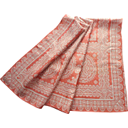 1920s Italian Tablecloth Coral Color Lace Print Silky