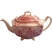Pink Old Britain Castles Johnson Brothers England Teapot Vintage