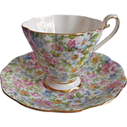 Chintz English Bone China Vintage Cup Saucer Royal Standard Pink Blue Green