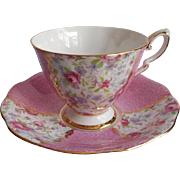 Chintz English Bone China Vintage Cup Saucer Royal Standard Pink Roses