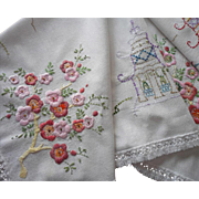 SOLD 1920s Hand Embroidered Tea Tablecloth Cherry Blossoms Pagodas