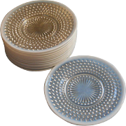 French Opalescent Hobnail Glass Plate Plates Vintage Moonstone