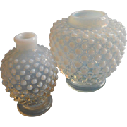 Fenton French Opalescent Hobnail Glass Vase Petite Rose Jar Form