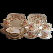 Dessert Service Victorian Antique China Set Cups Saucers Plates Serving Hand Painted Pink Aqua