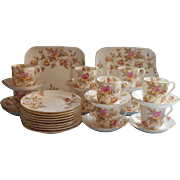 Dessert Service Victorian Antique China Set Cups Saucers Plates Serving Hand Painted Pink Aqua