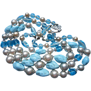 Glass Beads Necklace Vintage Turquoise Blue 3 Strand