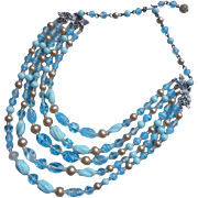 Glass Beads Necklace Vintage Turquoise Blue 5 Strand