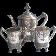 Aesthetic Victorian Silver Tea Set Antique Meriden Teapot Ornate Handsome