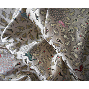 Vintage 1950s Satin Brocade Yardage Fabric Peacocks Hong Kong 6 Yards