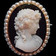 14K Antique Cameo Hardstone Sardonyx Brooch Pearls Pin