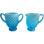 Fenton Blue Opalescent Hobnail Vintage Creamer Sugar Turquoise