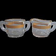 Creamer Sugar Bowl Vintage 1920s to 1940s Gold Encrusted Engraved
