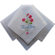 Vintage Hankie Unused Thank You Embroidery Novelty
