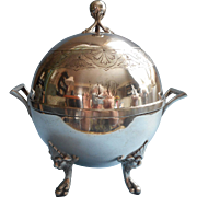 Victorian Butter Dish Antique Silver Ball Round Shape Monogram L A P