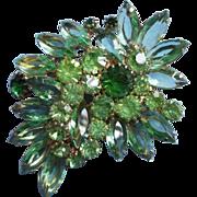 Big Weiss Green Rhinestone Pin Brooch Vintage 3 Shades Of Green