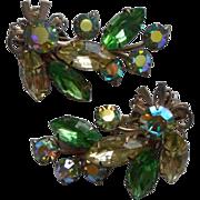 Beaujewels  Green Rhinestone Long Clip Earrings Vintage AB
