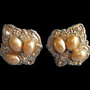 1930s Art Deco Earrings Vintage Faux Pearl Rhinestones Screwback