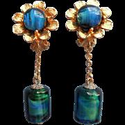 Mod 1960s Earrings Dangle Art Glass Chains Flowers Clip Blue Green