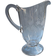 Ferns Fuchsia Antique EAPG Pressed Glass Pitcher Simple Etched