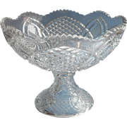 Punch Bowl Antique EAPG Pressed Glass One Piece Pedestal Style