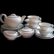 Noritake Tea Set Dessert Vintage China White Platinum Bands Simple Mid Century
