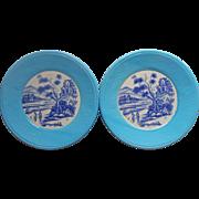 Mid Century Pair Plates Vintage Turquoise Burlap Textured Rim Blue Transfer Center