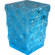 Pressed Glass Spooner Antique Turquoise Blue EAPG Block And Triple Bars
