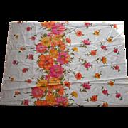 Vintage 1960s Fabric Yardage Border Print Pure Cotton 3 Yards Dress Length