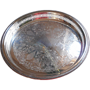 Gallery Rim Vintage Silver Serving Tray Round F.B. Rogers