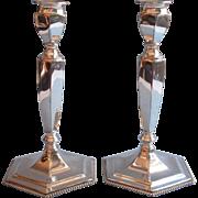 Antique Silver Candlesticks Circa 1900 to 1915 Forbes Pair Beaded Rim