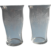 Butterflies Antique Engraved Glass 2 Juice Tumblers Butterfly Small Glasses
