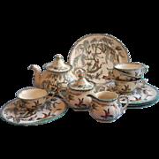 Tea Set Antique Ashworth Koro Transferware China English Teapot Exotic Birds