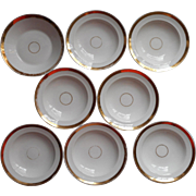 Wedding Ring Antique 8 Sauce fruit Dishes Bowl Gold White China