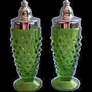 Vintage Green Hobnail Glass Shakers Chrome Lids Salt Pepper L.E. Smith