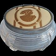 Vanity Jar Vintage 1930s Art Deco Glass Base Celluloid Paper Top Cameo Lady