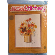 Vintage Needlework Embroidery Kit Unopened Sunset Stitchery Field Flowers With Monarch