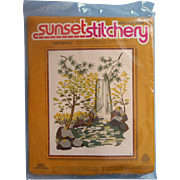 Vintage Needlework Embroidery Kit Unopened Sunset Stitchery Waterfall