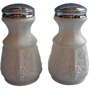 Westmoreland Paneled Grape Milk Glass Large Shakers Original Label Salt Pepper