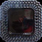 Antique Black Glass Square Plate Stick And Ball Lace Rim
