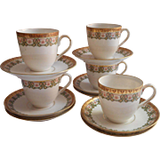 Demitasse Cups Saucers Antique M Z Austria D China Green White Gold
