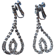 Vintage Coro Rhinestone Looped Dangle Earrings Signed