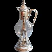 Silver Glass Vintage Coffee Carafe On Tilt Stand Warmer Pot