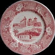 St. Augustine Florida Vintage Transferware Pink Souvenir Plate Adams Staffordshire