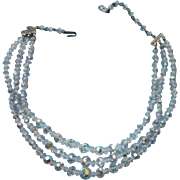 3 Three Strand Vintage Crystal AB Bead Beads Necklace Glass Rhinestone Clasp