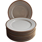 1920s Gold White Vintage O.P. Co. Syracuse China Luncheon Plates Set 10 Simple
