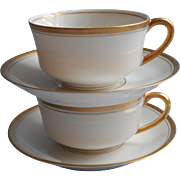 1920s 30s Gold White Vintage Syracuse China 2 Cups Saucers Tea Coffee