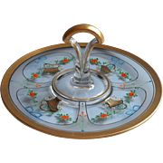 1920s Enameled Glass Tea Serving Center Handle Tidbit Cake Plate