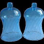 Homco Candle Glass Inserts Candlesticks Capri Blue Swirl Vintage Turquoise Aqua