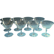Champagne Cocktail Coupe Glasses Engraved Vintage Glass Set 8 Stemware Crystal