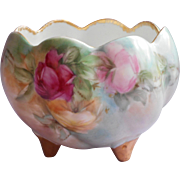 Rose Bowl Hand Painted China Roses Three Toe Vintage to Antique